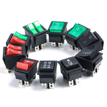 New KCD4 6Pins ON OFF ON Rocker Switch 4Pins On off Electric Power push button Switch with Light Green Red 16A 31*25mm(China)
