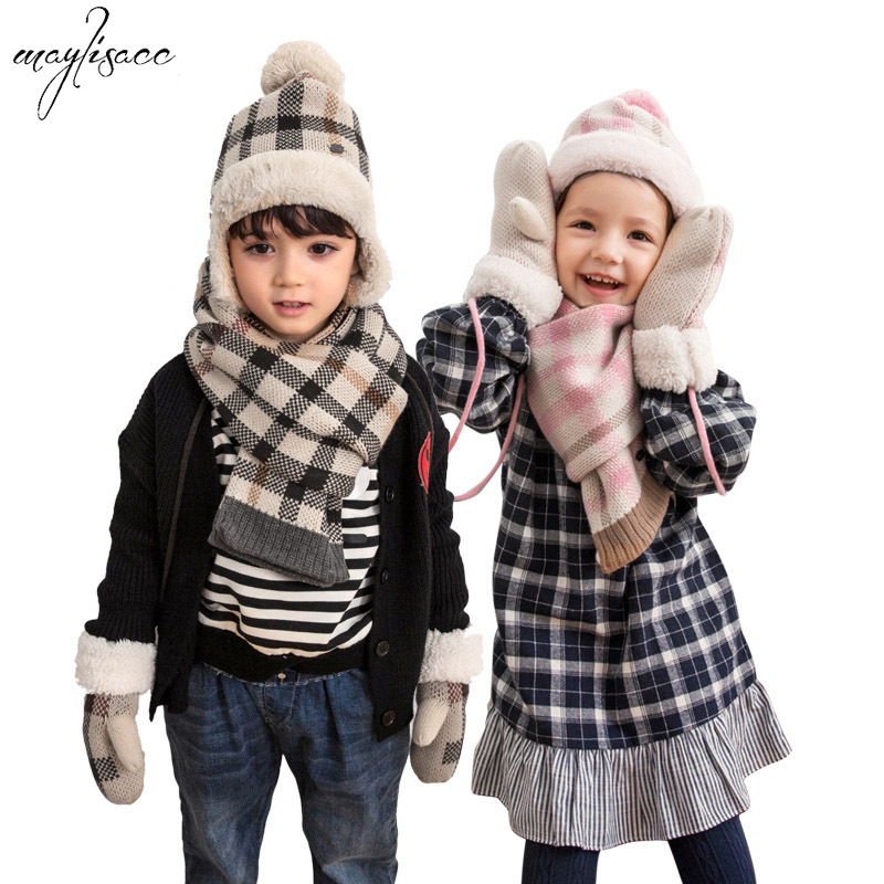 Maylisacc 2019 New Winter Warm Knitted Children's Plaid Hat Scarf Gloves Three-piece Set Thickened Kids Hat And Scarf Set