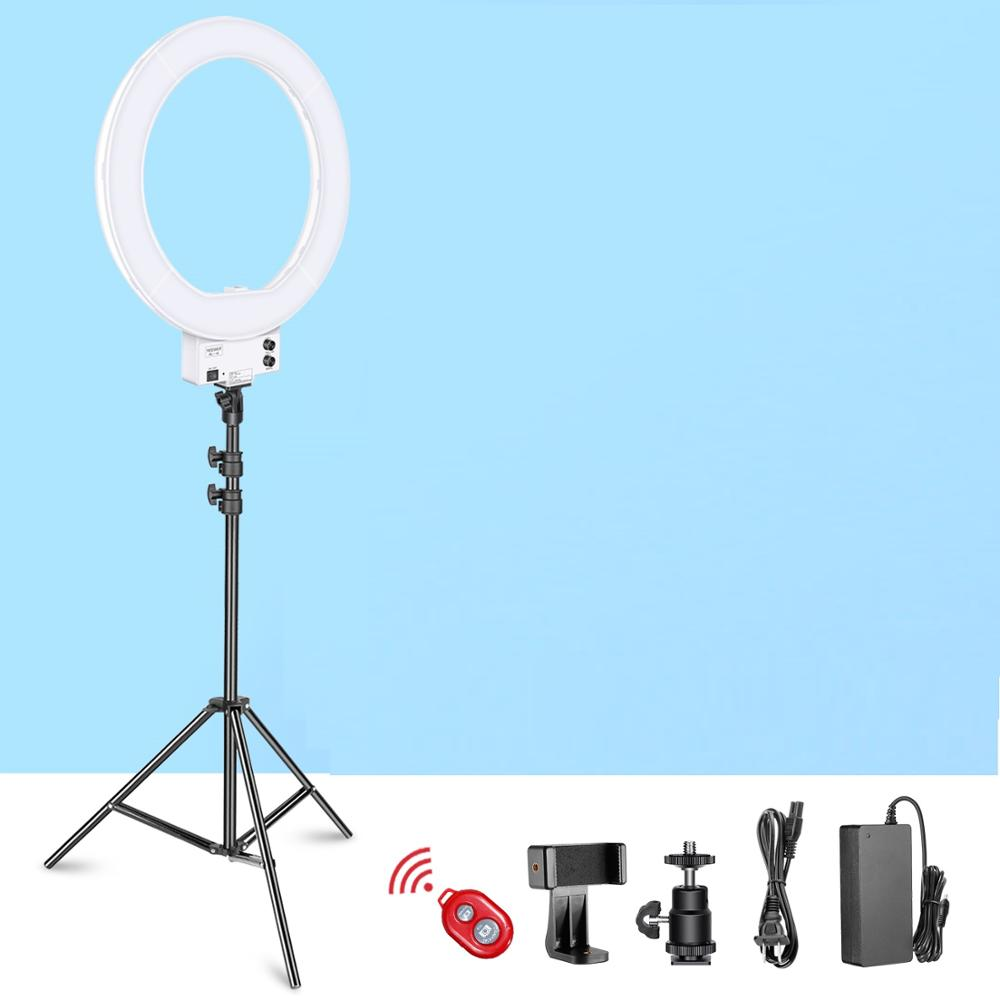 Hot Shoe Adapter Neewer 18-inch White LED Ring Light with Light Stand Lighting Kit Dimmable 50W 3200-5600K with Soft Filter Cellphone Holder for Make-up Video Shooting NO Carrying Bag