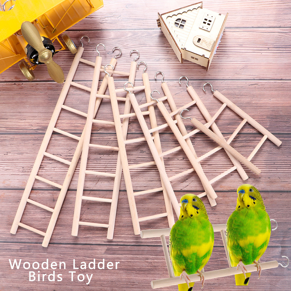 Birds Toy Wooden Ladders Swing Scratcher Perch Climbing 3/4/5/6/7/8 Ladder Bird Cage Hamsters Parrot Toys Hanging Pet Supplies