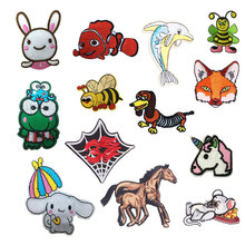 Cartoon Animals Patches Stickers Iron Clothes Bee Frog Heat Transfer Applique Embroidered Application Cloth Fabric Sequin Patch