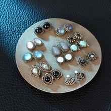 12 Pairs/set Vintage Female Crystal Rhinestone Opal Stud Earrings Set For Women Fashion Round Geometric Flower Earring Jewelry faux ruby geometric flower jewelry set