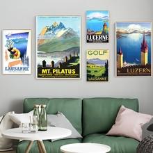 Pinturas en lienzo para viajes de Suiza de Lausanne Lucerna, imagen Vintage, póster Kraft, pegatinas de pared recubiertas, regalo de decoración del hogar