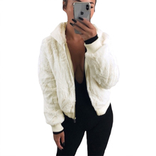 Women Short Jackets Plus Size 5XL Fleece Warm Soft Coats Casual Tops Street Teddy Plush Fluffy Female Zippers Hooded Outerwear cheap J-Bg Pink COTTON Polyester Acrylic REGULAR Pockets Wool Blends Solid coat 036 Full