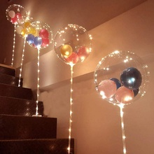 1Set Led Balloon With Column Stand Luminous Transparent Bobo Balloons Stand LED String Lights Wedding Birthday Party Decoration cheap ZQNYCY Oval ROUND Wedding Engagement Christening Baptism Gender Reveal Children s Day Chinese New Year Christmas Valentine s Day