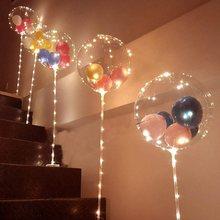 1 takım Led balon sütun standı ışık şeffaf Bobo balonlar standı LED dize ışıkları düğün doğum günü partisi dekorasyon