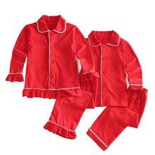 Рождественская Классическая Детская одежда мягкие хлопковые однотонные милые красные пижамы зимние с рюшами для маленьких девочек изысканные пижамы с длинными рукавами