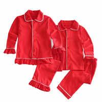 Boże narodzenie klasyczne dla dzieci odzież dla dzieci miękka bawełna solidna śliczne czerwone piżamy zimowe z wzburzyć baby girl boutique z długim rękawem piżamy