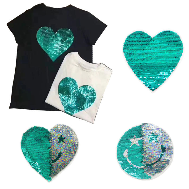 1pcs Fashion Heart Letter Reversible Sequined Patch Appliques DIY Repair Patch High-quality Sequins Patch Cute Sew On Patches