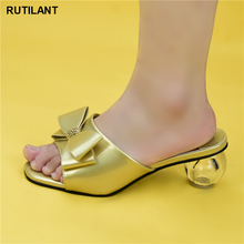 Slippers Sandals Evening-Shoes Wedding High-Heels Fashion Summer Women Latest Gold-Color