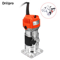 Drillpro Woodworking Electric Trimmer 220V/110V 30000r/min Slotting Trimming Machine Milling Engraving+15pcs Tungsten Router Bit