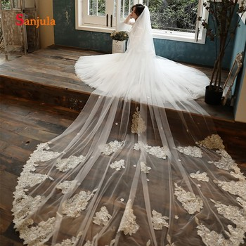 Gorgeous Lace Wedding Veils Long 2 Layers Bride Veils Wedding Hair Accessories for Bridal velos de novia 4 metros V137