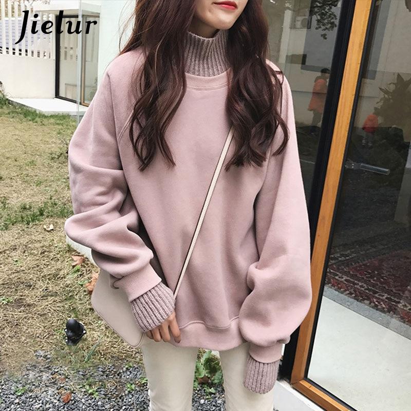 Jielur Style coréen sweat à capuche surdimensionné femme hiver faux deux pièces col roulé femmes sweat-shirt en vrac épais polaire pulls