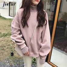 Jielur Korean Style Oversized Hoodies Female Winter False Two Pieces Turtleneck