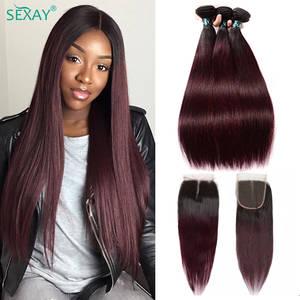 Human-Hair Closure Weaves Burgundy 1b-99j Dark Straight 3-Bundles Pre-Colored Brazilian