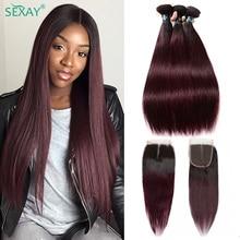 Омбре человеческие волосы 3 пряди с закрытием, предварительно окрашенные темно 1B 99J винно красные бразильские Прямые пряди, человеческие волосы с закрытием