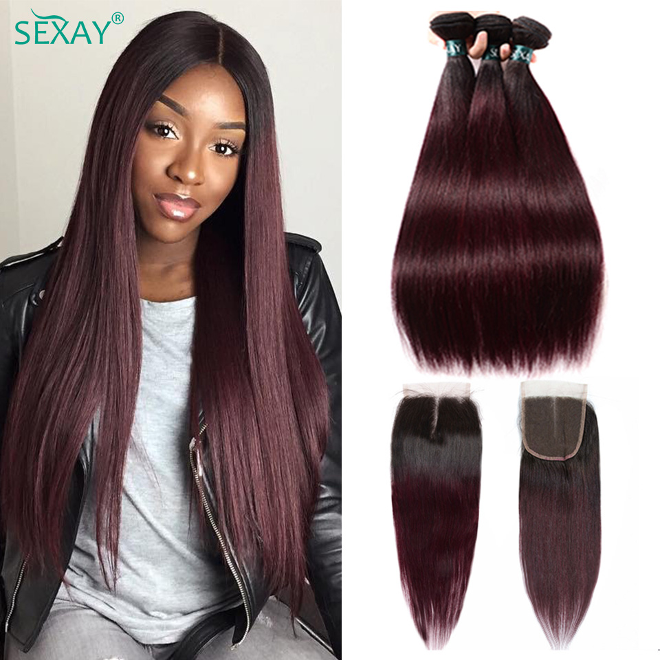 Human-Hair Closure Weaves Burgundy 1b-99j Dark Straight Ombre 3-Bundles Pre-Colored Brazilian title=