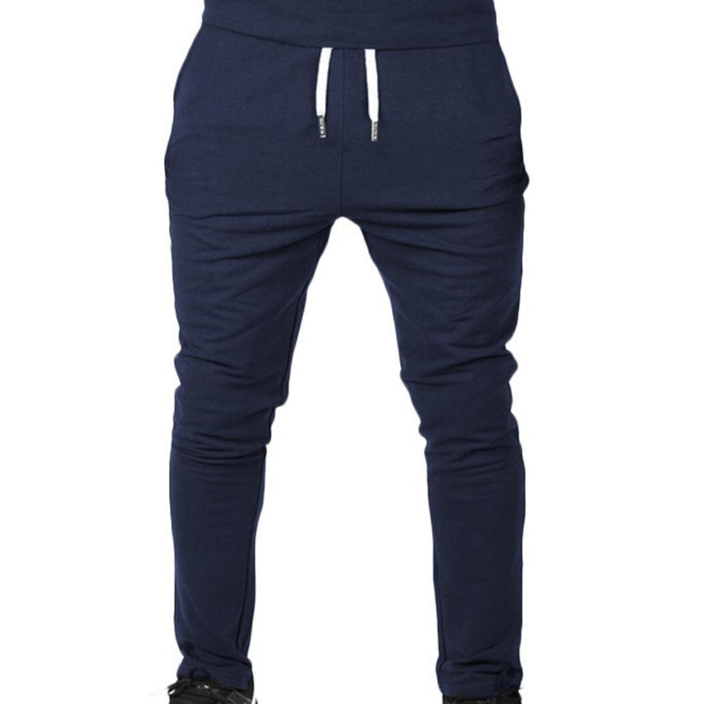 Men Outdoor Sports Sweatpants Running Pants Solid Color Drawstring Long Trousers