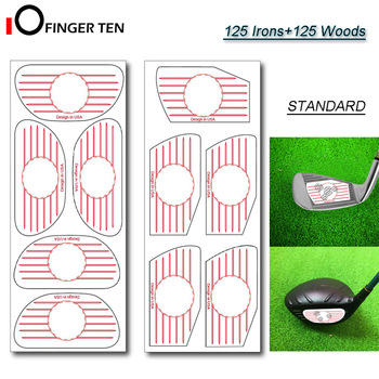 Golf Impact Tape 125 Eisen und 125 Woods Ball Schlagbrett Combo Recorder Club Labels Aufkleber Kit für Swing-Training