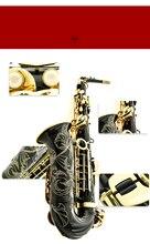 Sıcak satış saksafon siyah Alto pirinç gravür modu siyah altın Sax müzik aletleri profesyonel Alto saksafon ve kılıf