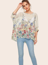 Tulle Top Embroidered Blouse Transparent Women Print Clothing Fashionable Loose O-Neck White Chiffon Half Streetwear Casual fashionable boat neck tie chiffon blouse for women