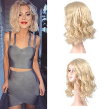 Blonde Lace Front Bob Wig Side Part Synthetic Short Wavy Wig Heat Resistant Short Bob Blonde Wigs For Women Msglamor adiors side part slightly curled short bob synthetic wig