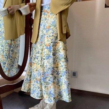цена на ETOSELL Floral Print Skirts Loose high waist temperament floral skirt Women Skirt Streetwear Drawstring Elastic Waist Midi Skirt