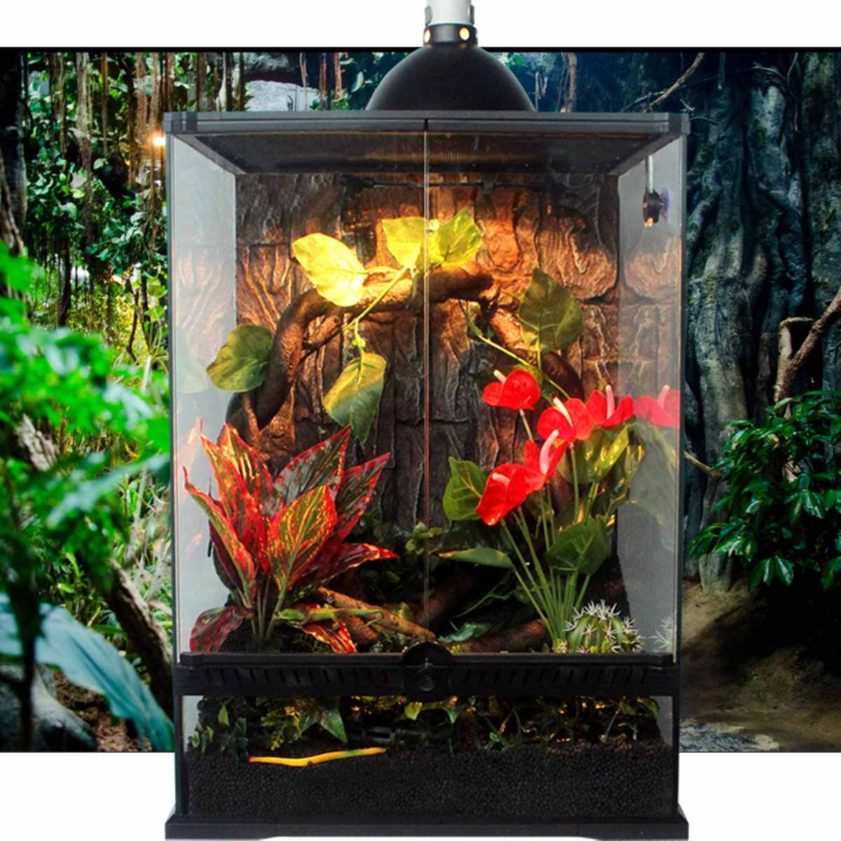 New Reptiles Habitat Decor Plants Ornament Reptile Tank Green Vine Leaf Grass Tropical Rainforest Landscaping Artificial Plants