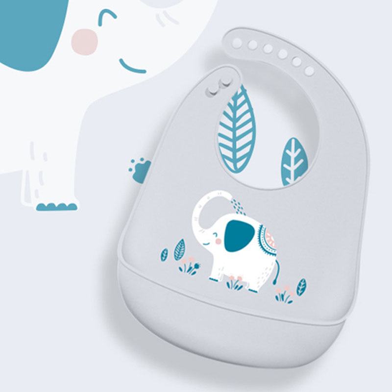 LightBlue Cow Hook Waterproof Baby Toddler Dribble Bibs Soft /& Foldable Silicone