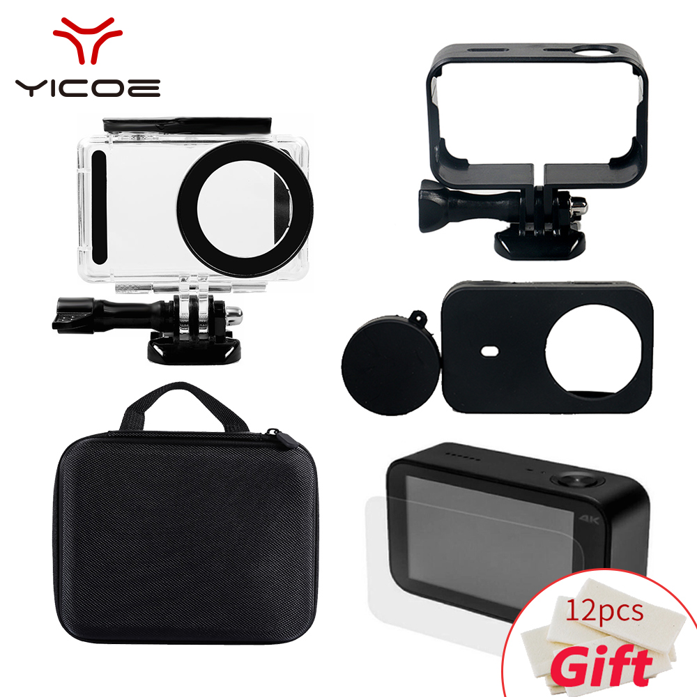 For Xiao mi Mijia 4K Action Camera Accessories Waterproof Housing+Frame Shell+Skin Case +Lens Cap + Protector Film + Storage bag(China)