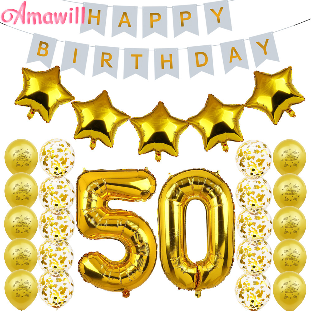 Amawill 50th Birthday Party Decoration Adults Set Gold 50 Confetti Latex Balloon Happy Birthday Banner Men Women Favors 75d Supply Kit Supplies Party Aliexpress