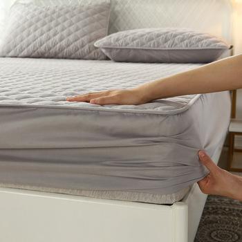 1 Pc zagęścić pikowane pokrycie materaca król królowa pikowane łóżko wyposażone prześcieradło antybakteryjne materac nawierzchniowy przepuszczalna dla powietrza podkładka na łóżko tanie i dobre opinie ZHENXISHUSHIMOXI CN (pochodzenie) Poliester Bawełna 400tc PRINTED PLANT Twill Pikowana Do hotelu WXZ2342