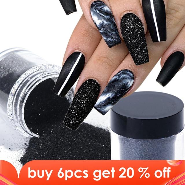 1 Box czarny biały paznokci Glitter zanurzenie proszek błyszczący Pigment pył Laser cukier Nail Art cekiny Glitters dekoracje Manicure TRMN
