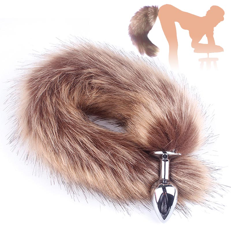 Black Metal Anal Plug Anal Juguetes Adultos Accesorios Butt Plug Metal Feather Anal Toys Fox Tail