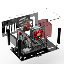 FAI DA TE Acrilico MATX Case Del Computer Kit Aperto Pieno Trasparente Desktop Gaming Layout di Custodie Illimitato Accessori