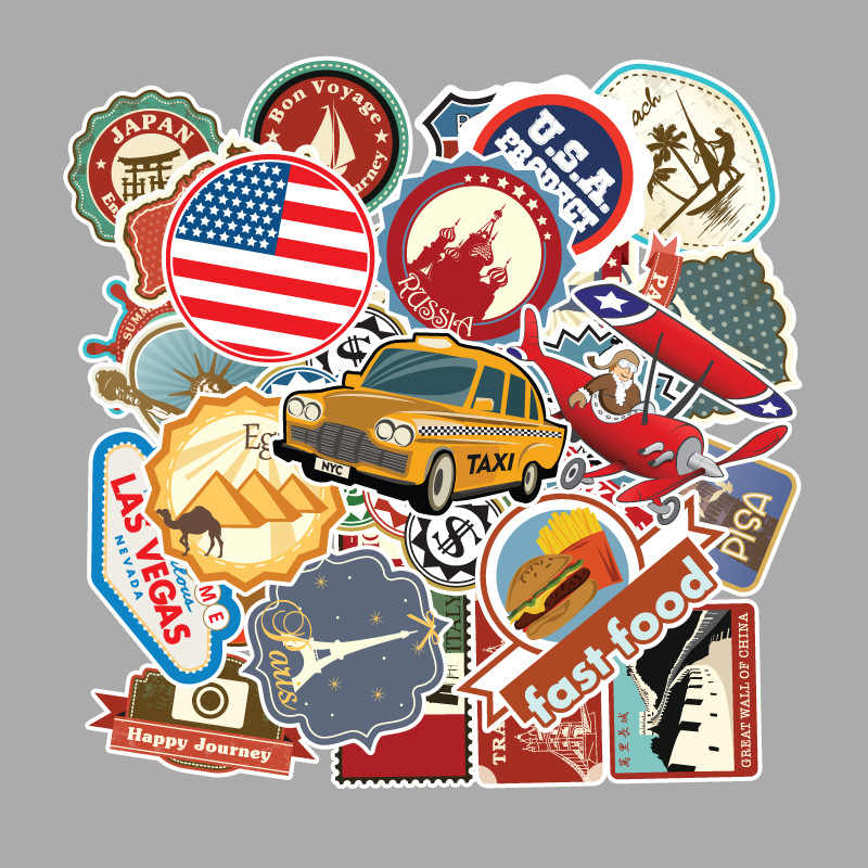 100 Pcs/set Berühmte Land Logo Aufkleber Reise Karte PVC Wasserdichte Kinder Spielzeug Decor für Koffer Skateboard Fahrrad Auto gitarre