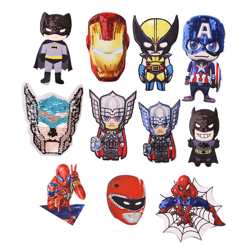 1 Pcs Super Hero Sequin Icon Embroidered Iron On Patches For Clothing DIY Stripes Clothes Patchwork Stickers  Custom Badges
