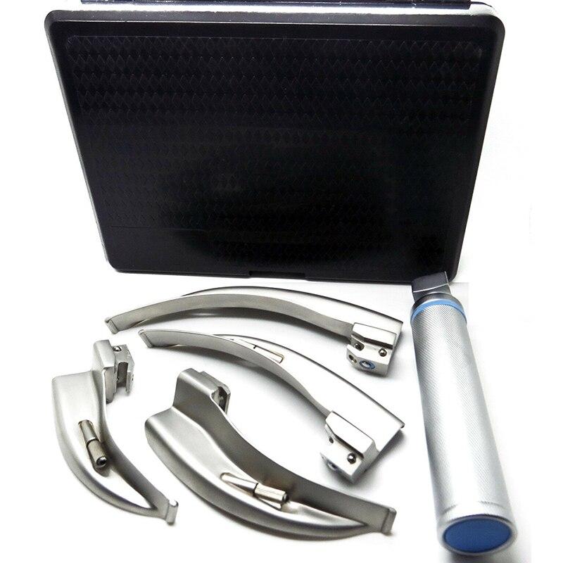 СВЕТОДИОДНЫЕ Обычные ларингоскопы с 4 лезвиями и 2 дополнительными лампочками 1 ручка 4 лезвия для проверки горла - 4