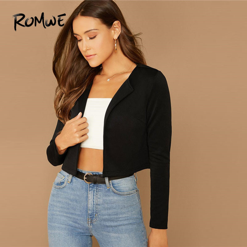 ROMWE Solid Shawl Collar Black Blazer Women Jacket Spring Fall 2019 Clothing Long Sleeve Highstreet Crop Coat Ladies Blazers
