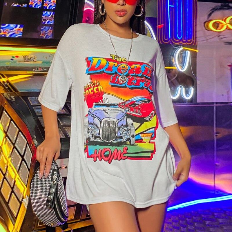 Футболка женская оверсайз с круглым вырезом, модная рубашка из хлопка в ретро-стиле, в американском стиле, контрастных цветов, модная улична...