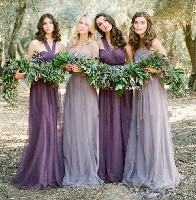 Elegant 2019 Cheap   Bridesmaid     Dresses   Under 50 A-line One-shoulder Tulle Long Wedding Party   Dresses   For Women