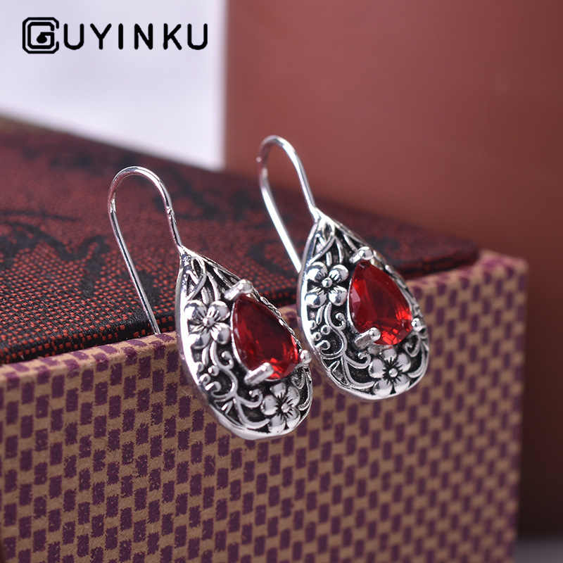 New Drop Pear-shaped Retro Earrings Thai Silver Ruby Earrings 925 Silver Gemstone Earrings Jewelry For Women