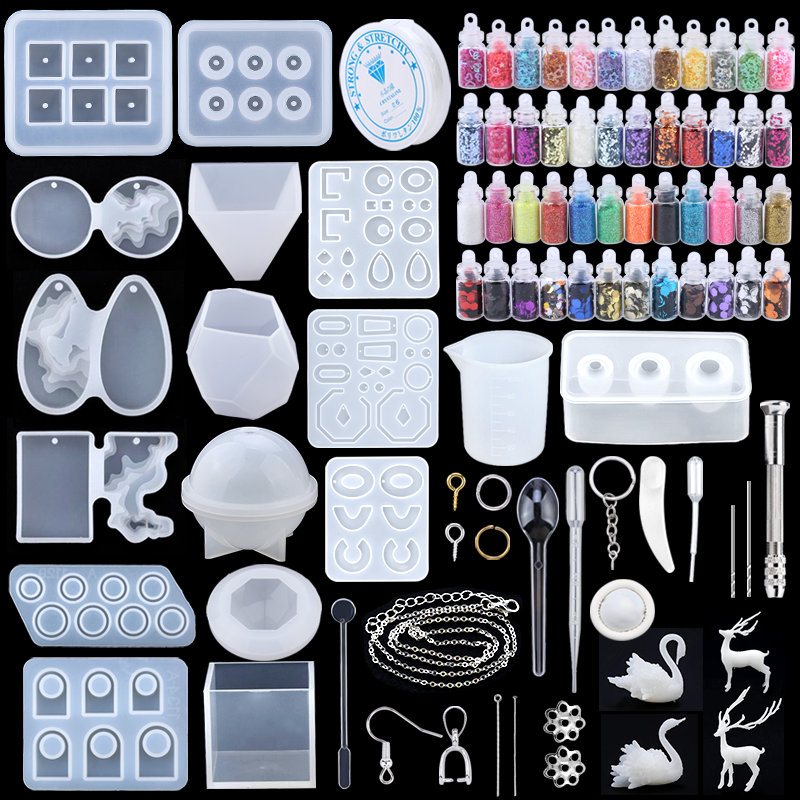 16 Styles Epoxy Casting Molds Set Silicone UV Casting Tools kits Resin Casting Molds For Jewelry making DIY Earring Findings