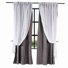 2-in-1 Hanging Hook Belt Back Tab Sheer Blackout Curtain Layered Mix Match White Voile For Rod and Track (1 Panel) ChadMade ELI