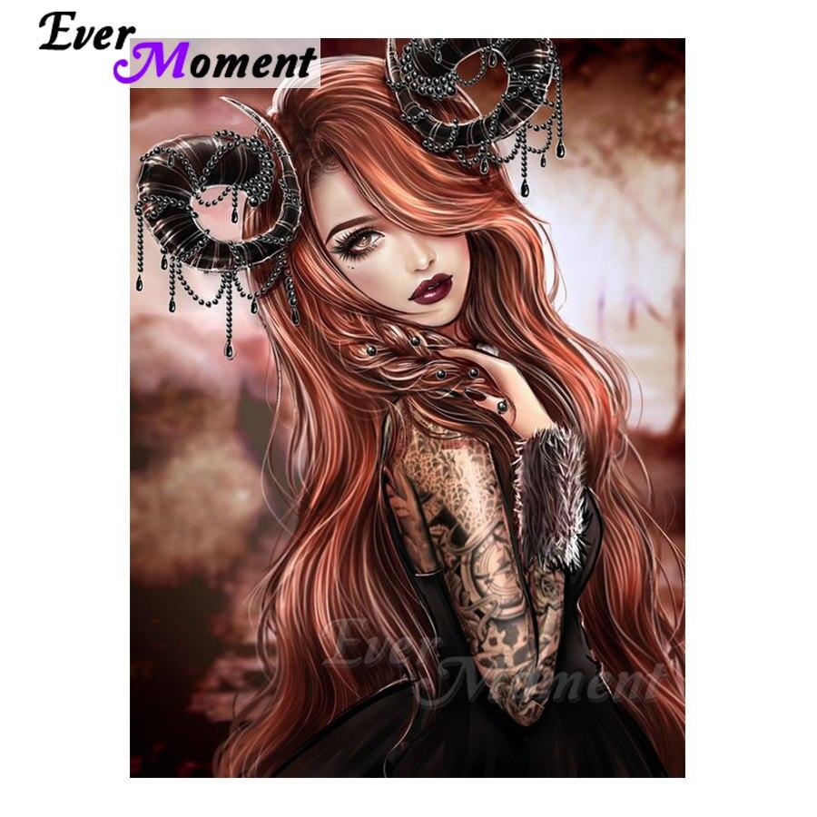 Ever Moment Diamond Painting Kits Girl Capricorn Full Square Resin Drills Diamond Embroidery Mosaic Hobby Crafts Art Decor 4Y315(China)