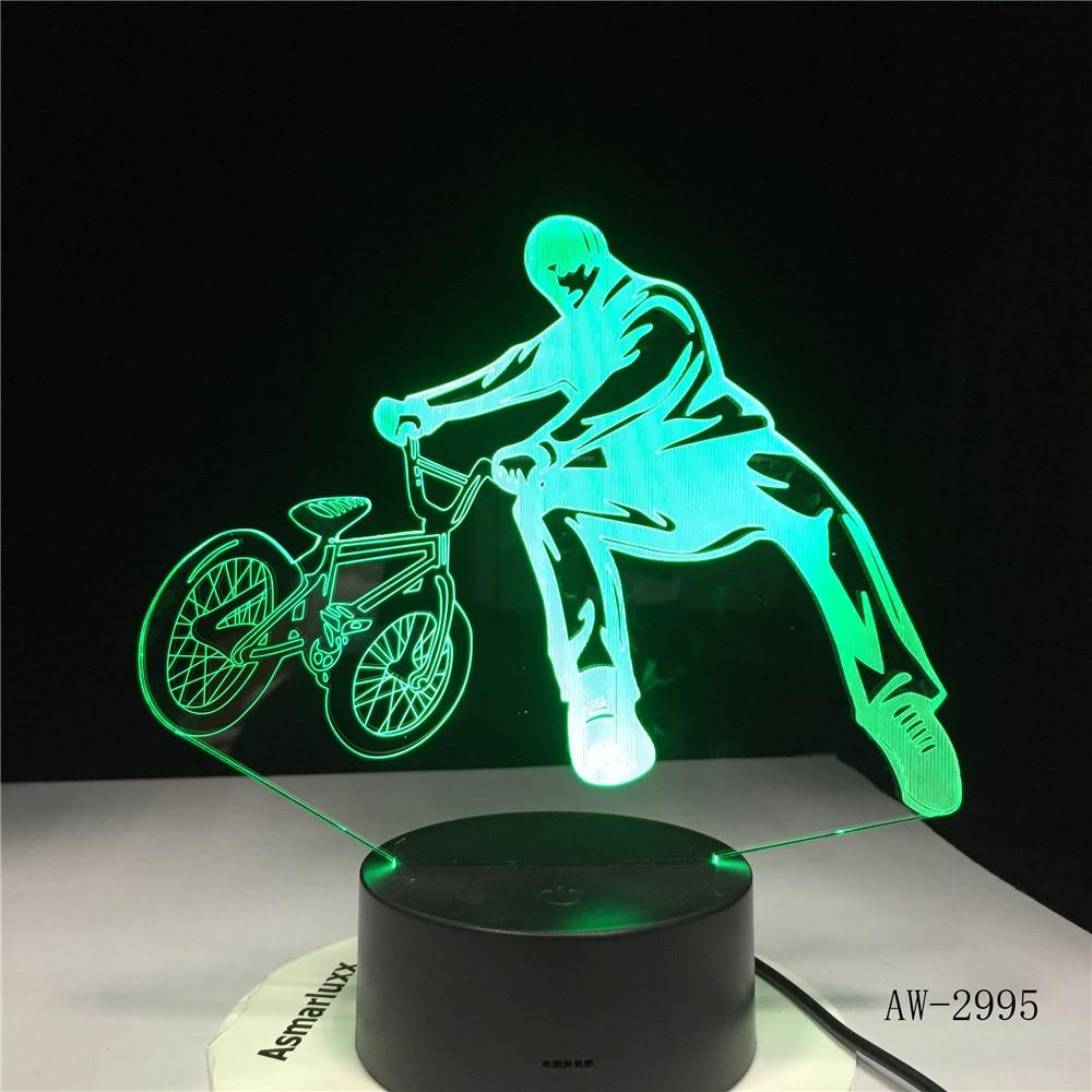 3D BMX Trickster Tisch Lampe Nacht Dekor Fahrrad Grenze Bewegung Nacht Licht LED 7 Farben Ändern Schlafen Beleuchtung Geschenke 2995