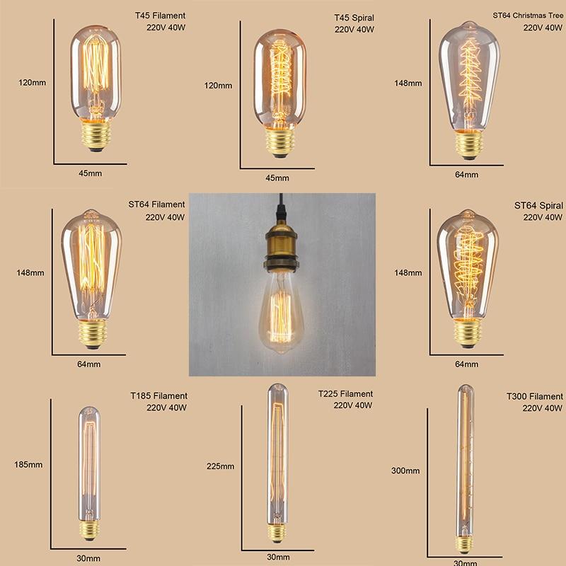 Купить с кэшбэком ST64 G95 G80 T30 Edison Incandescent Bulb Dimming 40W 220V E27 Vintage Light Retro Pendant Lamp Filament Spiral Industrial Decor