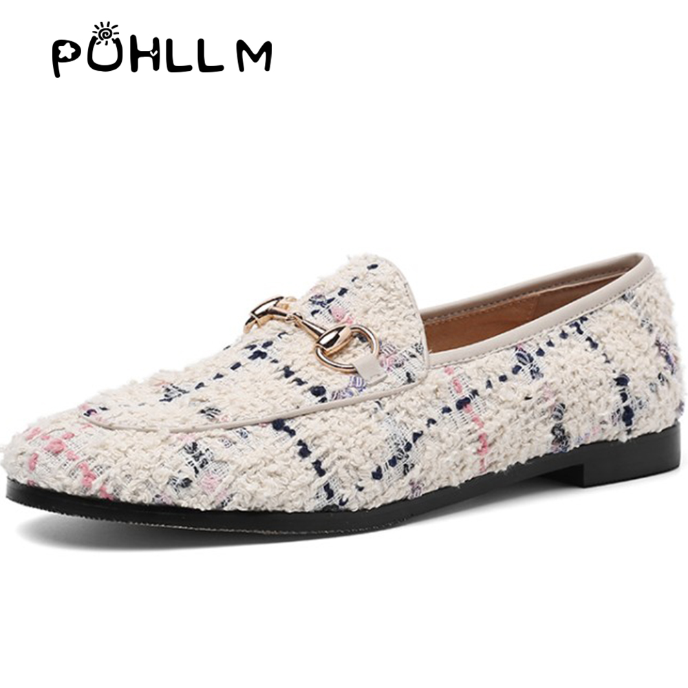 PUHLLM Pink Falts Shoes Women 2019 Autumn Ladies Falts Shoes Lining sheepskin Round Toe Fashion Women's Shoes slip ons D19