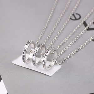 3 Pcs/set Best Friends Forever Necklaces Round Simple Pendant Necklace For Girls Women Sisters BFF Friendship Jewelry