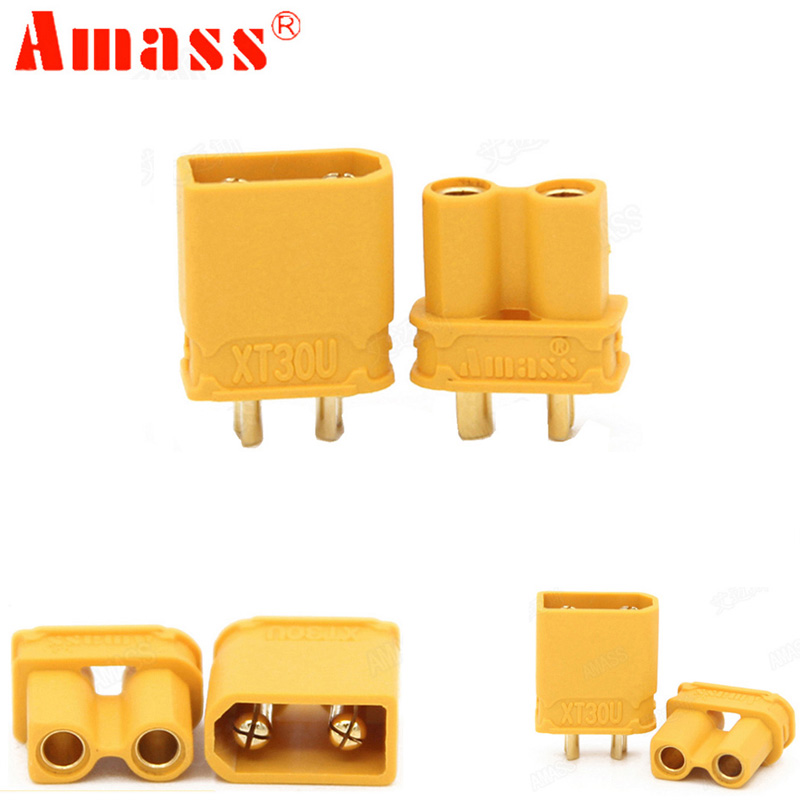 10pcs Amass XT30U Male Female Bullet Connector Plug The Upgrade XT30 For RC FPV Lipo Battery RC Quadcopter (5 Pair)